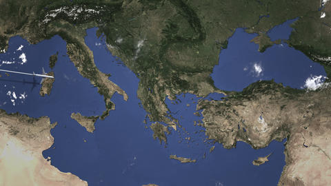 Airplane heading to Istanbul, Turkey from west on the map. Intro 3D animation Footage
