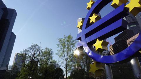 Symbol of Euro Sign Sculpture in Frankfurt, Germany GIF