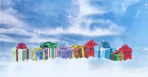 CHRISTMAS with gifts and blue skies CG動画素材