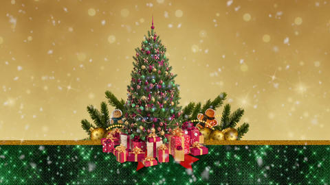 CHRISTMAS Tree with snow falling Animation