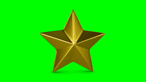 Rotating golden star suitable for award ceremony or evaluation on green ビデオ