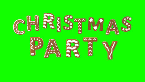 Animation of gingerbread letters isolated with green screen. Christmas party Animation