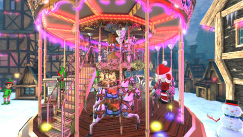 Christmas village with a carrousel, elves and Santa waving hello. Seamless funny Animation