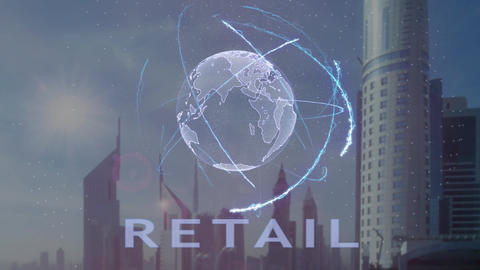 Retail text with 3d hologram of the planet Earth against the backdrop of the Footage