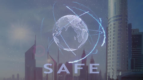 Safe text with 3d hologram of the planet Earth against the backdrop of the Live Action