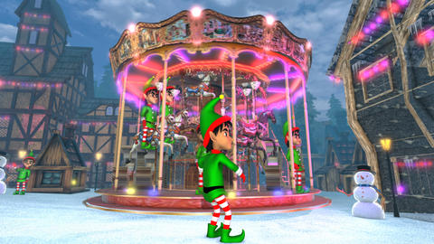 Cute elf dancing salsa in a Christmas village with a carrousel in the Animation
