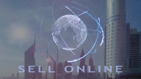 Sell online text with 3d hologram of the planet Earth against the backdrop of Live Action