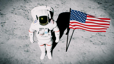 Astronaut on the moon near the us flag salutes. Realistic... Stock Video Footage