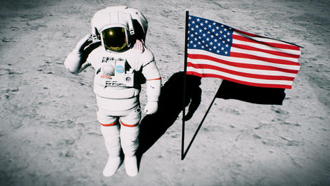 Astronaut on the moon near the us flag salutes. Realistic cinematic 3D Animation