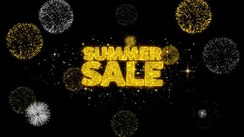 Summer Sale Golden Text Blinking Particles with Golden Fireworks Display Footage