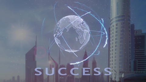 Success text with 3d hologram of the planet Earth against the backdrop of the Footage