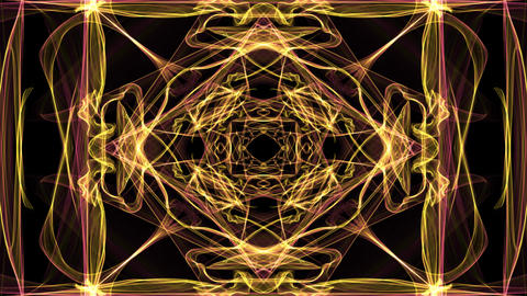 Abstract yellow fractal patterns on black background. Square beautiful ornament Animation