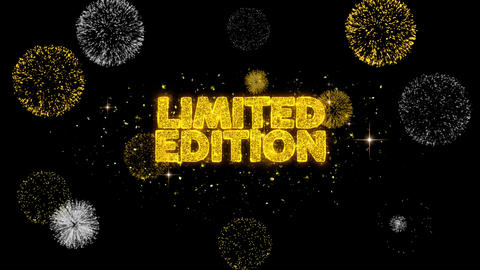 Limited Edition Golden Text Blinking Particles with Golden Fireworks Display Footage