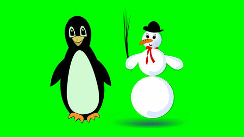 jumping snowman and cute walking penguin, two cute cartoon characters on green Animation
