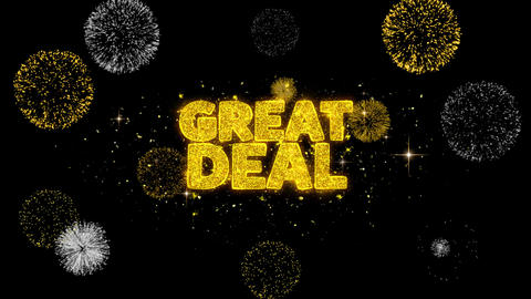 Great Deal Golden Text Blinking Particles with Golden Fireworks Display Footage
