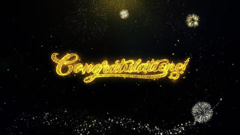Congratulations Written Gold Particles Exploding Fireworks Display Live Action