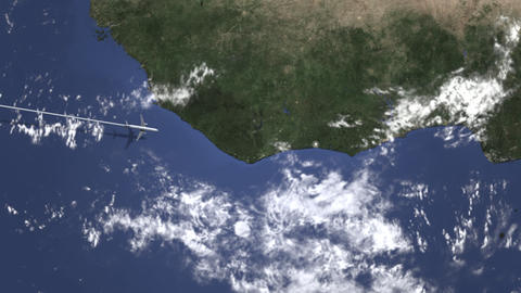 Airplane heading to Abidjan, Ivory coast from west on the map. Intro 3D Footage