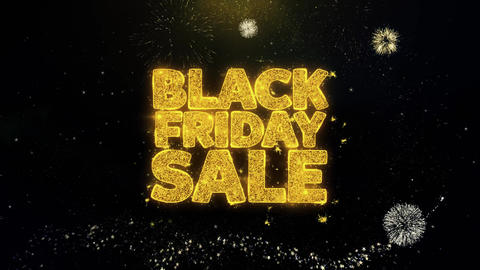 Black Friday Sale Written Gold Particles Exploding Fireworks Display Footage