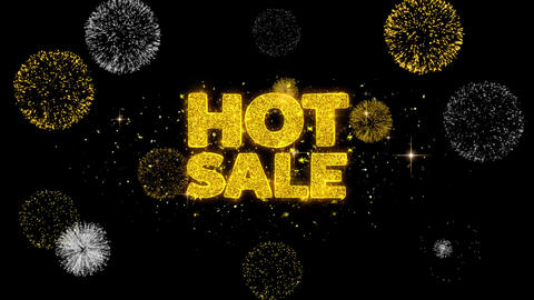 Hot Sale Golden Text Blinking Particles with Golden Fireworks Display Footage
