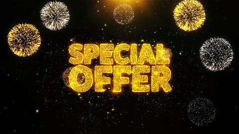 Special Offer Wishes Greetings card, Invitation, Celebration Firework Looped Live Action