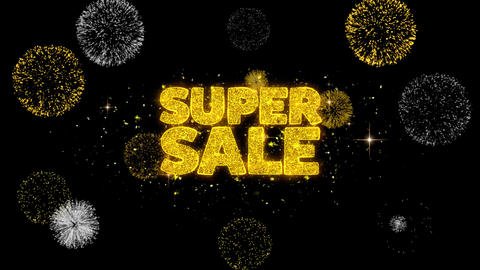 Super Sale Golden Text Blinking Particles with Golden Fireworks Display Footage
