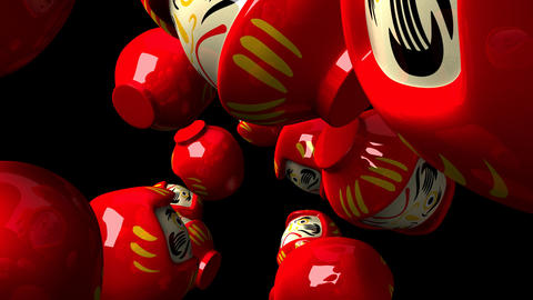 Red daruma dolls on black background Animation