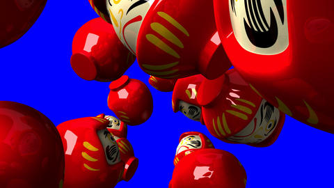 Red daruma dolls on blue chroma key Animation