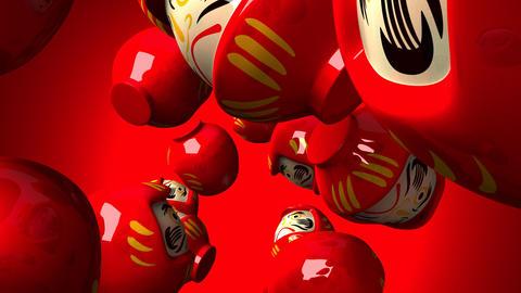 Red daruma dolls on red background CG動画