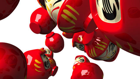 Red daruma dolls on white background Animation