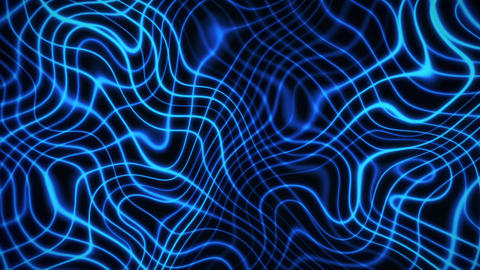 Blue Flashing Wavy Grid Abstract Motion Background Animation