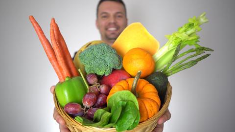 Businessman Offer Fresh Organic Fruits Healthy Natural Vegetables Basket GIF