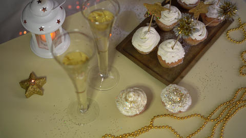 New Year's Eve Dessert: Bubbly Champagne Cupcakes Footage