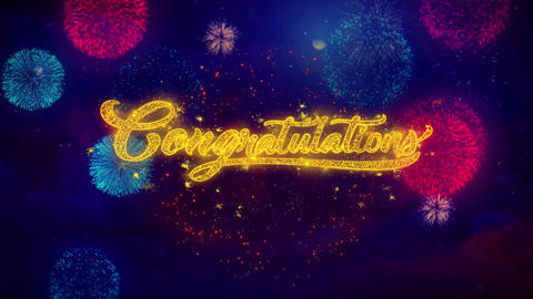 Congratulations Greeting Text Sparkle Particles on Colored Fireworks Live Action