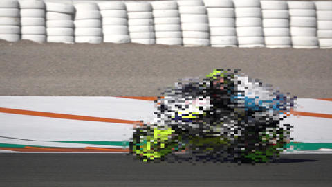 Mosaic motorbike competing in a racing circuit and slow-mo Live Action