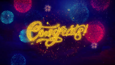 Congrats Greeting Text Sparkle Particles on Colored Fireworks Live Action