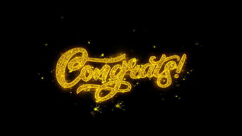 Congrats Typography Written with Golden Particles Sparks Fireworks Live Action