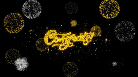 Congrats Golden Text Blinking Particles with Golden Fireworks Display Live Action