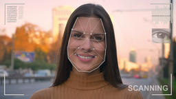 Futuristic and technological scanning of the face of a beautiful woman for Footage