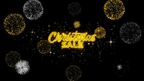 Christmas Sale Golden Text Blinking Particles with Golden Fireworks Display Footage