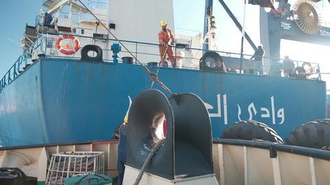 Odessa, October 20, 2018, Ukraine. Towing a ship. Sailor of the Egyptian ship Footage