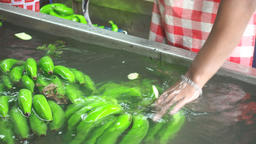 Workers are cleaning Banana trimming in the pond Archivo