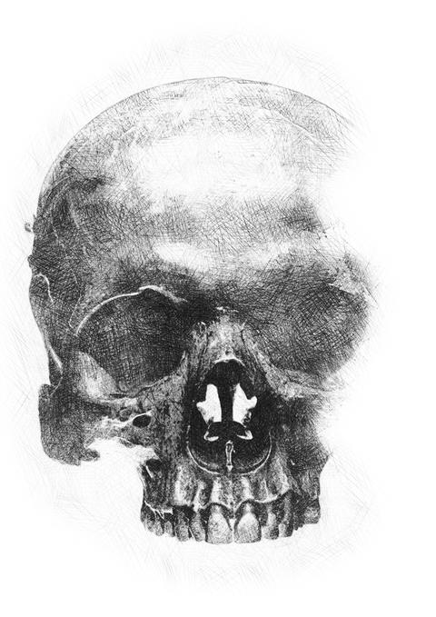 Texture outline on paper pencil human skull Photo