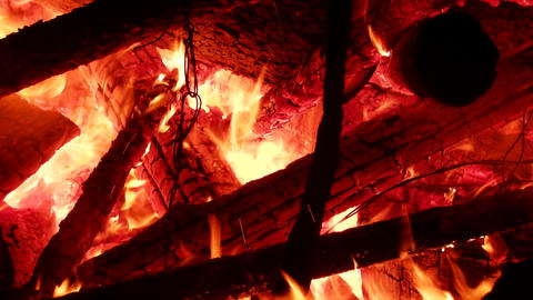 Inside the large bonfire and the fire heat Live Action