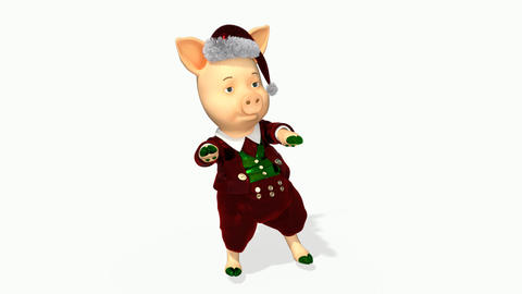 New Year's pig dancing funny,loop, transparent background Live Action