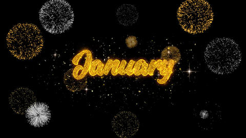 January Golden Text Blinking Particles with Golden Fireworks Display Live Action