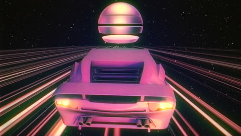 Retro Futuristic Car VJ Loop 애니메이션