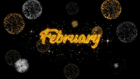 February Golden Text Blinking Particles with Golden Fireworks Display Live Action