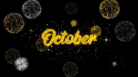 October Golden Text Blinking Particles with Golden Fireworks Display Footage