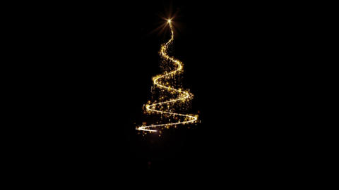 The appearance of a Golden Christmas tree on a black background Footage