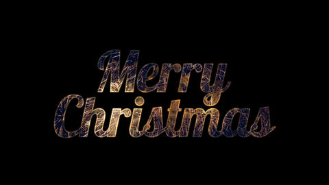Gold fireworks in Merry Christmas text with alpha / transperant Animation